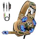 VersionTECH. Auriculares Gaming con Microfono de Diadema-Bass OverEar 3.5mm Jack,Luz LED,Volumen...