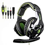 PS4 auriculares, SADES 810 PC Gaming auriculares over-EAR Gaming audífonos con cancelación de...