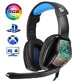 YINSAN Auriculares Gaming para PS4, Cascos Gaming Premium Stereo con Micrófono, Gaming Headset con...